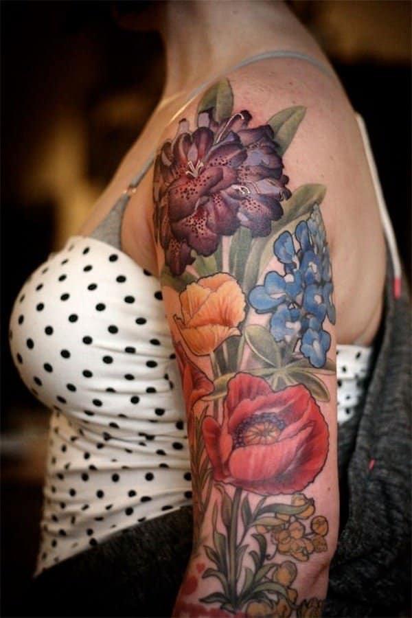 tatouages de fleurs sur le bras 5