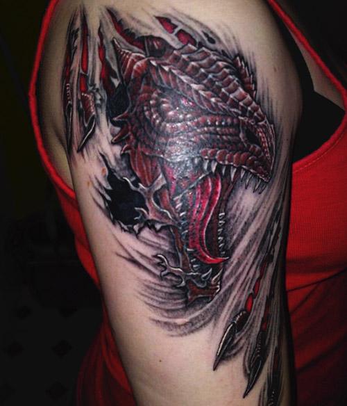 tatouages de la dame dragon 4