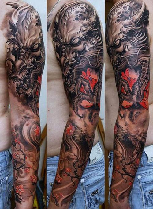 tatouage dragon bras homme 1
