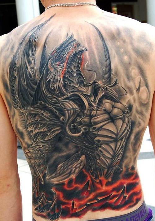 tatouages dragons dos tatouage 2