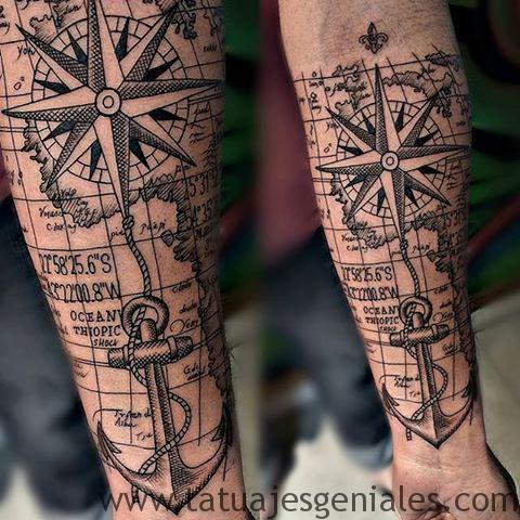 tatouages boussole hommes 3