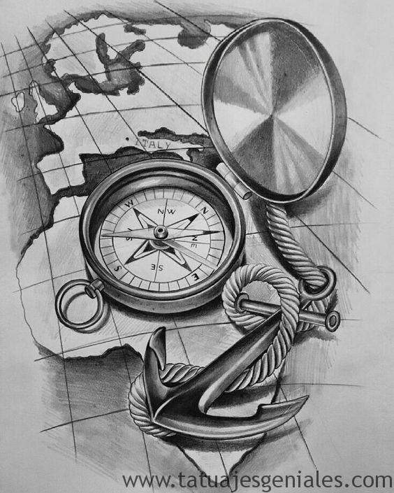 dessins de tatouage boussole 6