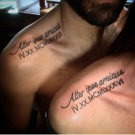 tatouages pour les couples sur la clavicule 1