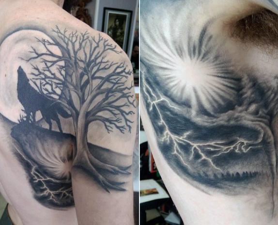 Tatouages de loup à l'épaule 4