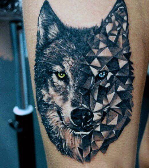 tatouages géométriques de loup signifiant tatouage 1