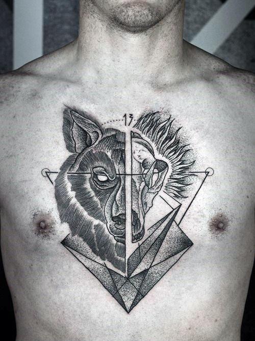 tatouages géométriques de loup signifiant tatouage 4