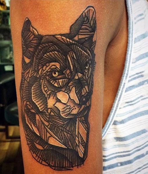 tatouages géométriques de loup signifiant tatouage 6
