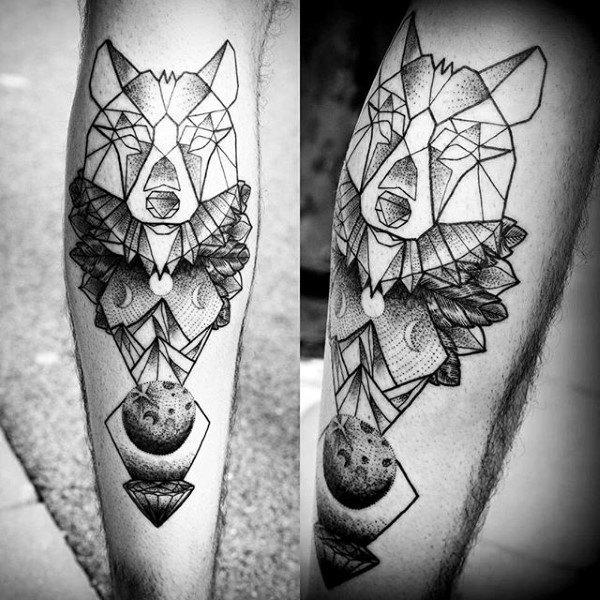 tatouages géométriques de loup signifiant tatouage 7