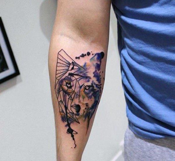 Tatouages de loup en aquarelle signification des tatouages de loup 3
