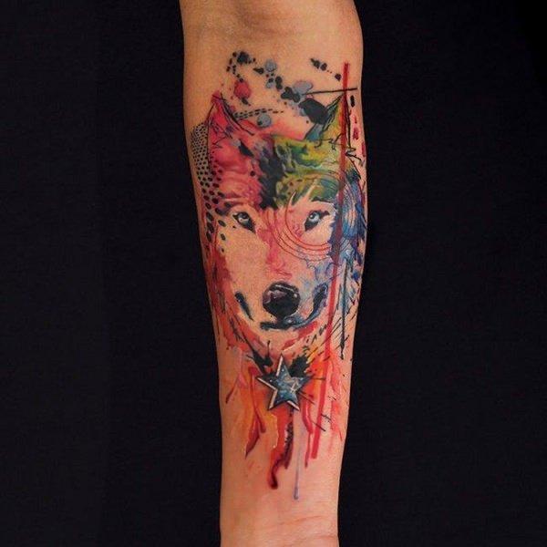 Tatouages de loup en aquarelle signification des tatouages de loup 4