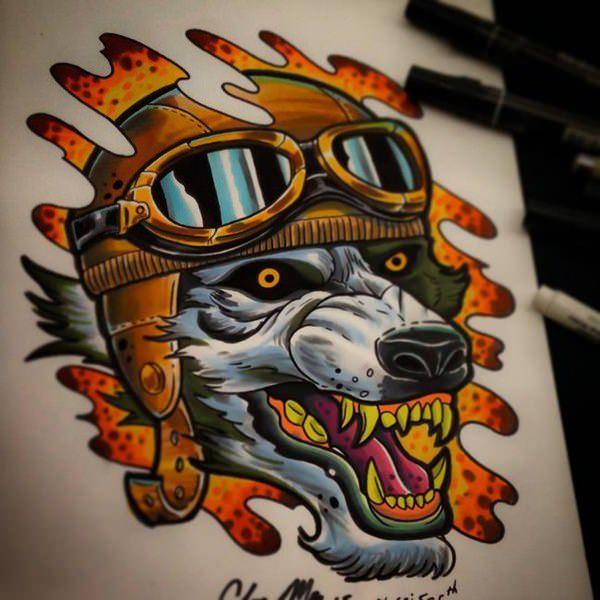 Tatouages de loup féroce signifiant 2