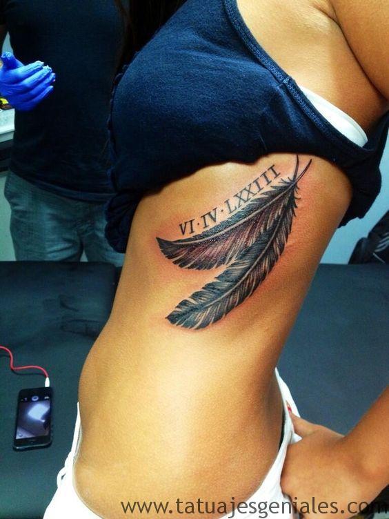 plumes de tatouage côtes 1