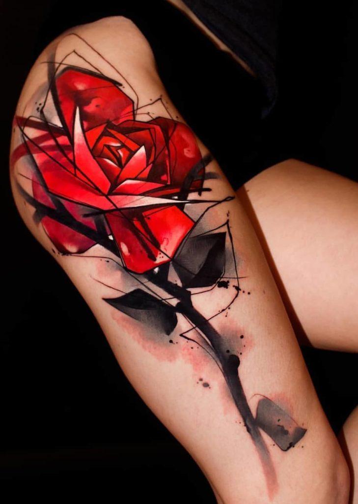 Watercolor Rose Tattoo