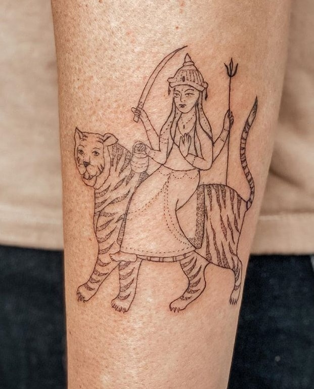 Tatouage Durga et Tigre