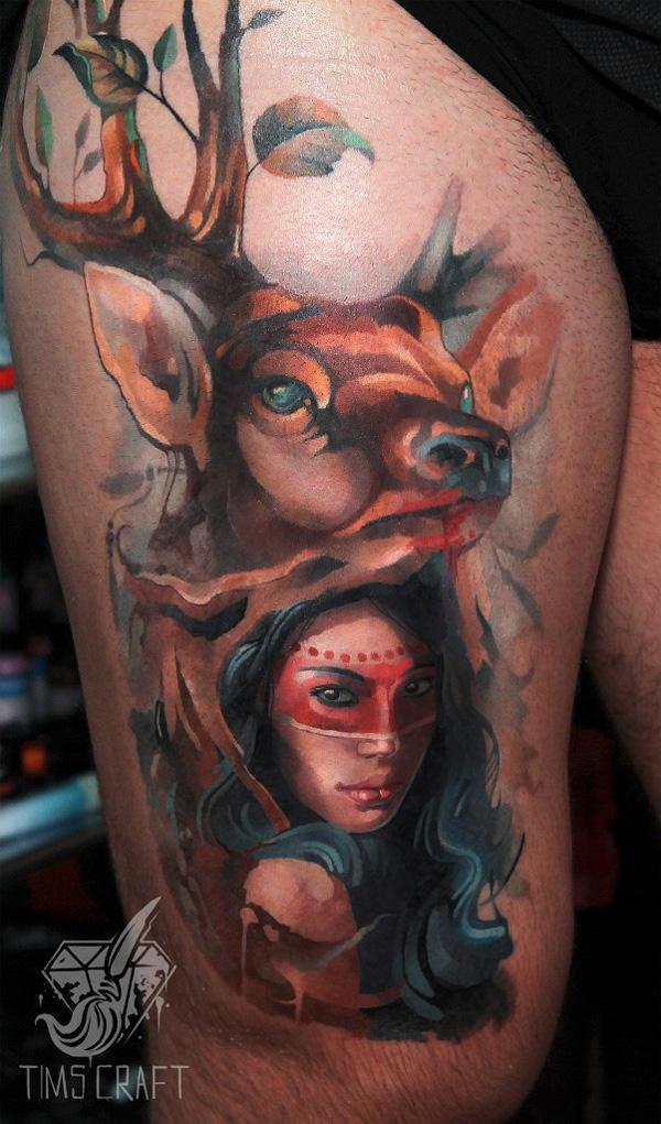 Wonder Woman et tatouage de cerf