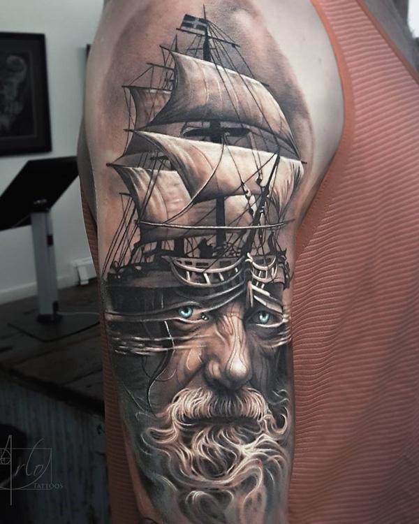 Bateau avec portrait tattoo-54