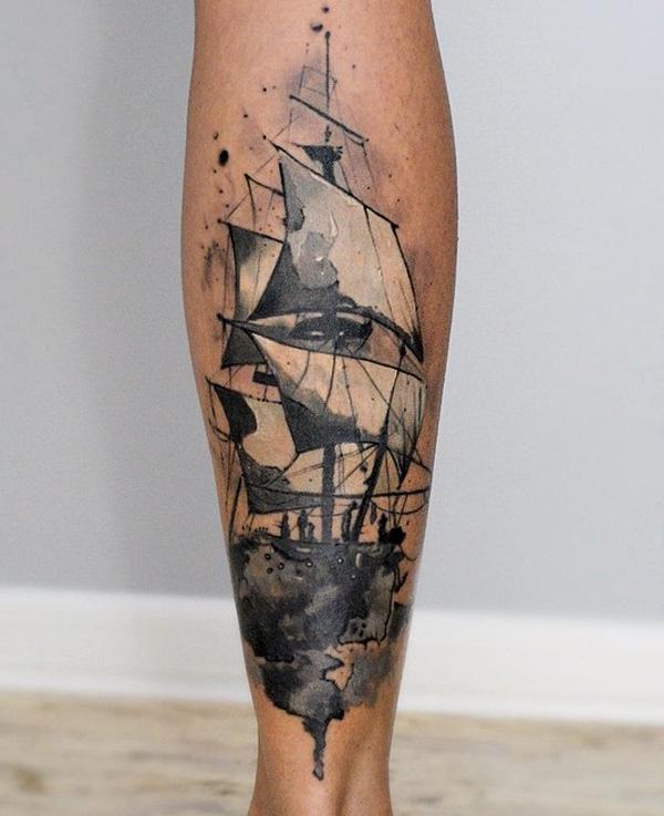 Tatouage de veau de bateau aquarelle-79