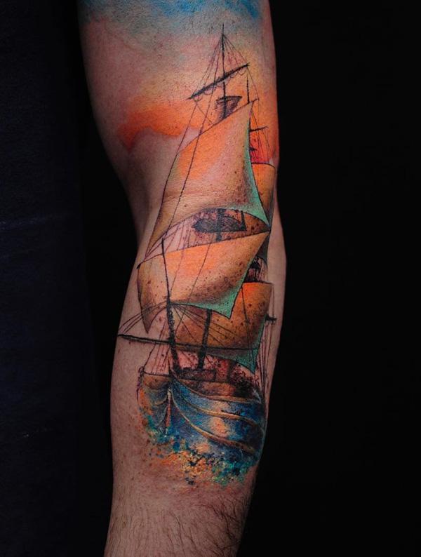 Tatouage de manche de bateau aquarelle-69