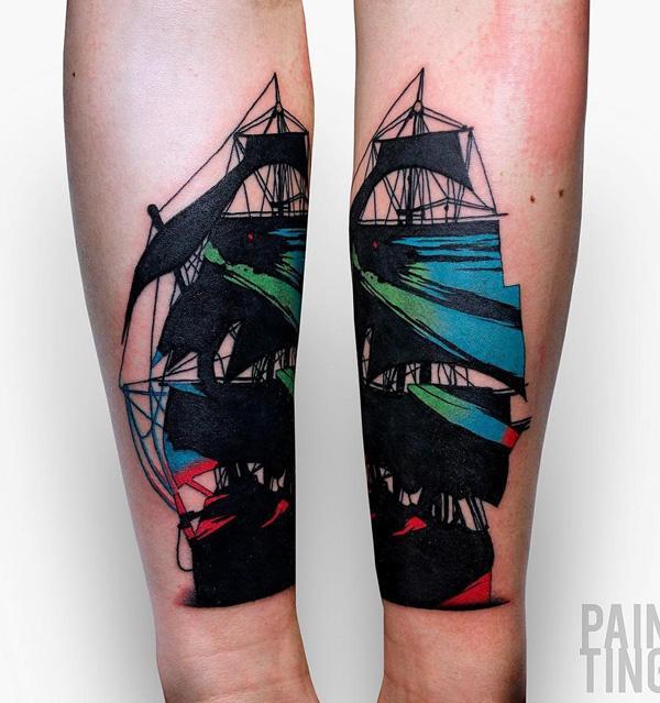 Tatouage de bateau de style de peinture-74