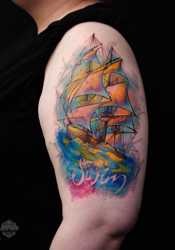 Tatouage demi-manche bateau aquarelle-48