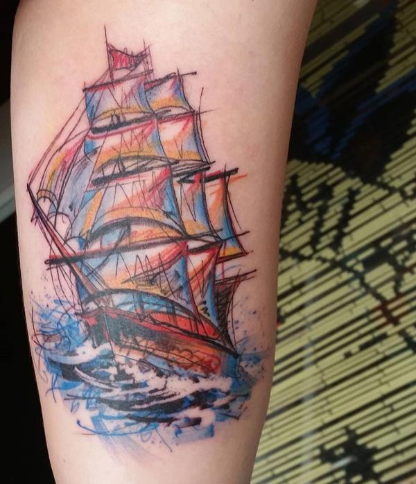 Tatouage de bateau aquarelle-51