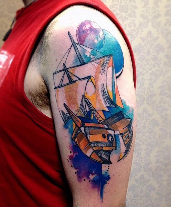 Tatouage de bateau aquarelle-64