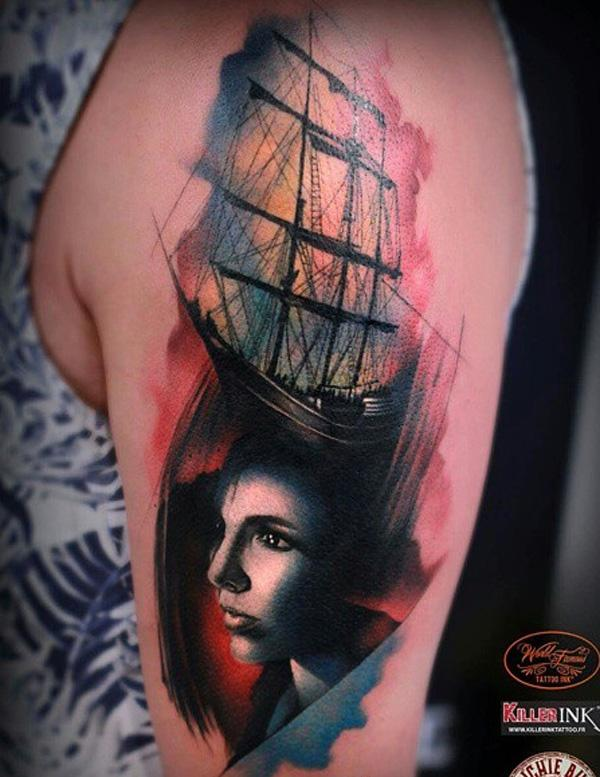 Bateau aquarelle avec tatouage portrait pour femme-71