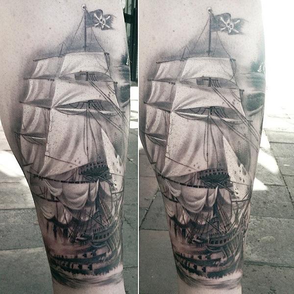 Tatouage de mollet de bateau pour homme-98