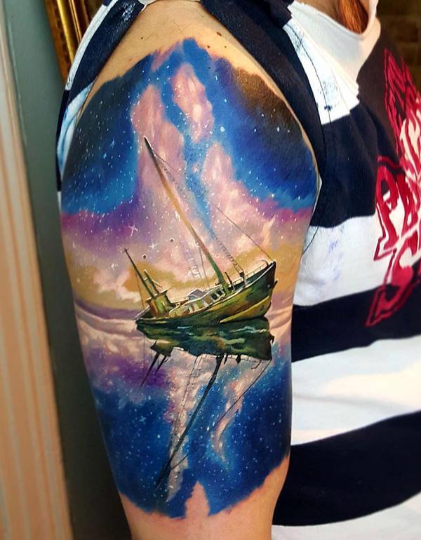Bateau avec des étoiles de voie de lait tatouage-85