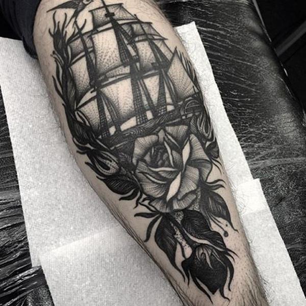 Bateau avec rose tattoo-78
