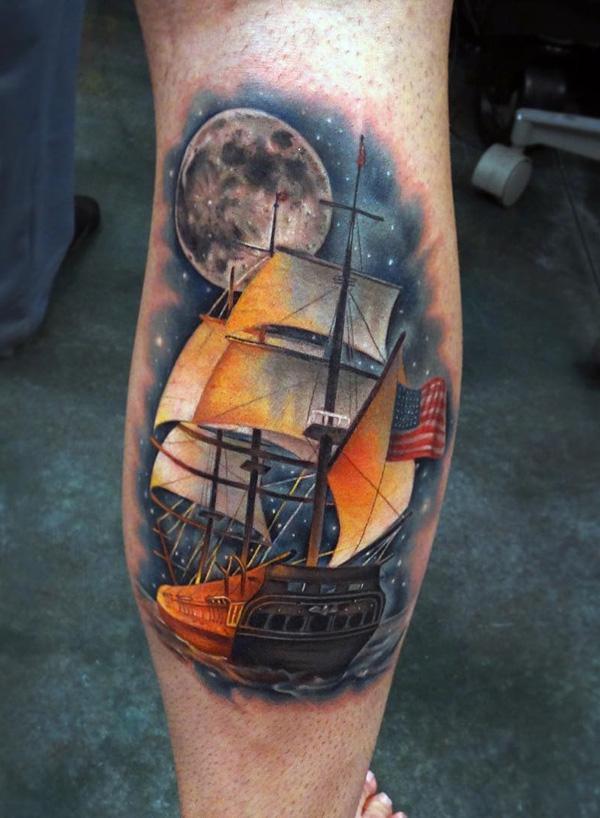 Tatouage de bateau de couleur cool-87