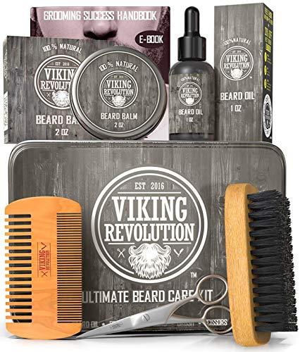 Kit de soins de barbe Viking Revolution pour hommes - Le kit de toilettage de barbe ultime comprend une brosse à barbe 100% sanglier pour hommes, un peigne à barbe en bois, un baume à barbe, de l'huile à barbe, des ciseaux à barbe et à moustache dans une boîte en métal