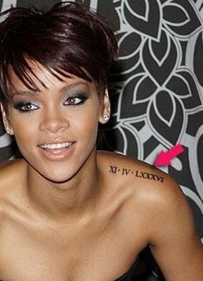 Tatouages Rihanna Chiffre Romain