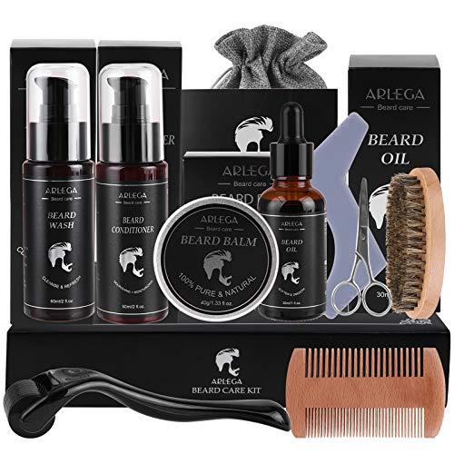 Kit de croissance de la barbe, Arlega 10 en 1 Kit de barbe pour homme avec huile à barbe, baume à barbe, après-shampooing pour barbe, nettoyant pour barbe, rouleau à barbe, brosse, peigne, ciseaux et sac de rangement, meilleurs cadeaux pour homme